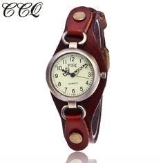 >> Click to Buy << CCQ Brand Fashion Vintage Cow Leather Quartz Watches Women Bronze Dial Casual Dress Wristwatch Clock Relogio Feminino #Affiliate