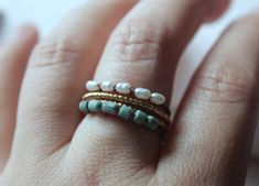 Pearl ring gold freshwater pearl ring pearl stacking ring set tiny pearl engagement ring gypsy rings bohemian rings modern minimal rings by xuanqirabbit on Etsy beach outfit , beach accessories,beach fashion,relaxation art,beach jewelry,holiday outfit ,holiday accessories,freedom