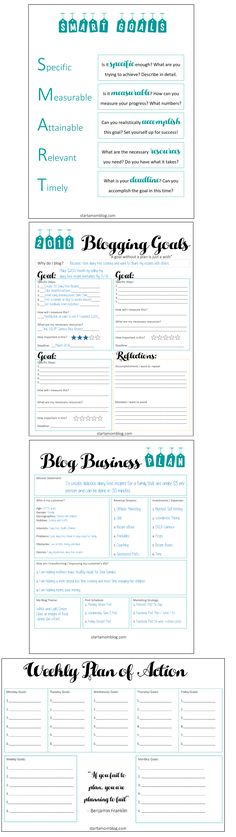 SMART Blogging Goals and Business Plan - Free Printable - www.startamomblog.com