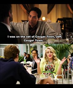Abed really was in the back of an episode of Cougar Town. Community goes the distance with their jokes!