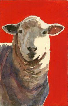 Sheep art sheep portrait art original watercolor on by GWENSART, $35.00