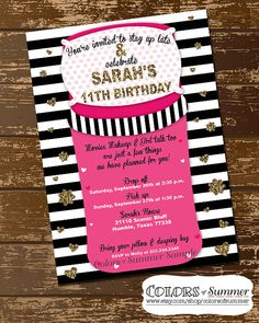 This invitation is perfect for your girlie girl who is having friends over for a slumber party! The background is black and white stripes with gold glitter a big sleeping bag and pillow is on top with all the party details! FAVOR TAGS are NOT included but can be purchased here: