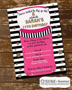 Diese Einladung Ist Perfekt Für Ihre Girlie Mädchen, Freunde über Für Eine  Pyjamaparty Hat!