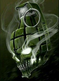 """Ross Kamela Artwork — """"A sick grenade skull. Skull Tattoo Design, Skull Tattoos, Body Art Tattoos, Tattoo Designs, Totenkopf Tattoos, Skull Pictures, Skull Artwork, Skull Wallpaper, Neue Tattoos"""