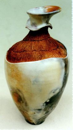 M.Wein  Pit fired.burnished texture vase