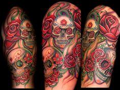 sugar skull sleeve tattoos designs