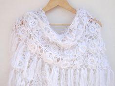 white wedding wrap ,crochet women shawl wrap ,bridal scarf Scarves ,spring scarf , fall fashion on Etsy, $75.00