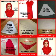 DIY Praying Hijab Tutorial and one for dolls too! Diy Sewing Projects, Sewing Hacks, Sewing Tutorials, Sewing Crafts, Sewing Patterns, Sewing Tips, Pashmina Hijab Tutorial, Turban Hijab, Islamic Clothing