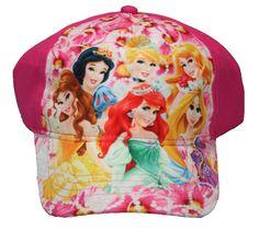 Diseny Youth Girls Princess Belle Snow White Cinderella Ariel Rapunzel Auror Baseball Hat Pink