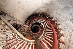 Staircase in abandoned Holyoke Hotel in MA