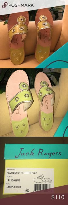 Jack Rogers Palm Beach Platinum Flat Brand new in box. Jack Rogers lime green/platinum trim Palm Beach Flats. Size 10. Perfect for your summer wardrobe. Jack Rogers Shoes Sandals