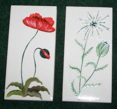 Handpainted Ceramic Tile Flower Trivets Set of 4 by ourhousecraft, $14.95