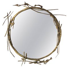 Contemporary Bronze Brutalist Mirror by Sial Seandel | From a unique collection of antique and modern wall mirrors at https://www.1stdibs.com/furniture/mirrors/wall-mirrors/