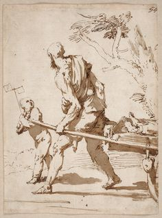 Jusepe de Ribera  Boy with a Pinwheel and an Old Man Pulling a Cart with a Corpse (ca. 1640)  Museo del Prado, Madrid, Spain