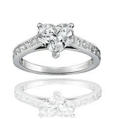 CARTIER, bague de fiançailles Solitaire 1895 - platine, diamants, coeur