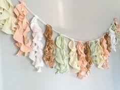 Peach, Mint & Gold - Curly Fabric Tassel Garland Banner - Event ...