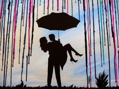 Handmade Encaustic Wax Painting - Melted Crayon Art - Couple Under Umbrella in The Rain with Sky Background - 18x24 by FembyDesign