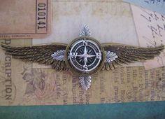LARGE Steampunk Explorer Oak and Compass Wings - Airship Pilot / Explorer / Adventurer. $25.00, via Etsy.
