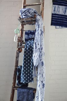 indigo textiles from kanazawa, japan Scarf Display, Fabric Display, Love Blue, Blue And White, Cool Fabric, Fabric Shop, Divas, Textiles, Indigo Dye