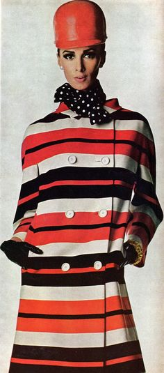 Racing-inspired stripes on a wool coat by Originala. Adolfo made the jockey-like cap; scarf by Echo, and bracelets by Kenneth Jay Lane. That man has staying power. Photo from Vogue, January 1966.