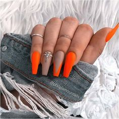 Dark Nude and Neon Orange Matte Nails Nail Art Orange, Bright Orange Nails, Neon Yellow Nails, Orange Acrylic Nails, Bright Summer Acrylic Nails, Orange Nail Designs, Best Acrylic Nails, Neon Nails, Glue On Nails