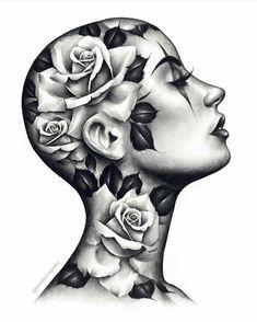 Girl Face Tattoo, Girl Face Drawing, Face Art, Girl Tattoos, Rose Drawing Tattoo, Tattoo Sketches, Tattoo Drawings, Rose Tattoos, Flower Tattoos