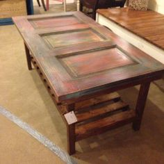 Shabby Chic Coffee Table made from antique door and reclaimed wood