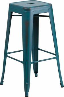 30'' High Backless Distressed Kelly Blue-Teal Metal Indoor-Outdoor Barstool, ET-BT3503-30-KB-GG by Flash Furniture | BizChair.com