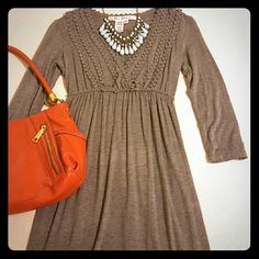 MAX Studio dress NWOT. MAX Studio Heather grey v-neck dress.  **Size XS but very stretchy and will fit up to size medium   - Cute fabric detail around chest and neckline - Very soft and stretchy - 95% rayon, 5% spandex - 3/4 sleeves  - Cinched underneath chest Max Studio Dresses Long Sleeve