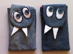 Monster phone cases .... lots more cute denim ideas found on this site. Be sure to browse around a bit!