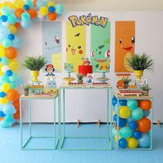 Fiesta de pokemon Naruto Birthday, Pokemon Birthday, Boy Birthday, Pokemon Party Decorations, Birthday Party Decorations, Festa Pokemon Go, Pokemon Themed Party, Pokemon Craft, First Birthday Party Themes