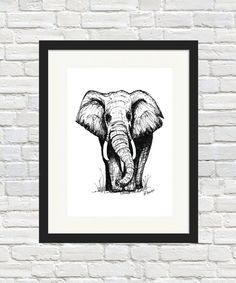 Elephant Sketch Print by BronwynHoustonArt on Etsy Elephant Sketch, Elephant Wall Art, Elephant Print, Sign Printing, A5, Etsy Store, Houston, Moose Art, Africa