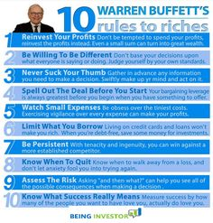 Warren Buffet's 10 Rules to Riches. success business tips self improvement wealth entrepreneur self help warren buffet tips on self improvement entrepreneur tips tips for entrepreneur Financial Peace, Financial Tips, Financial Literacy, Financial Planning, Money Tips, Money Saving Tips, Warren Buffet Quotes, Analyse Technique, Leadership