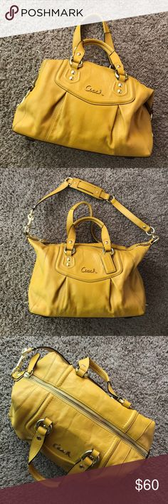 Coach Handbag Yellow coach handbag with shoulder strap. Leather. Excellent condition! Coach Bags