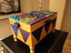 Miracle box, with polymer clay tiles, beads, buttons and wire.
