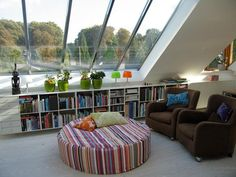 amusing decoration idea for attic room  with glass roof decoration idea then flower vase above bookcase vanity.