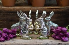 Foil wrapped faux chocolate bunnies look like the real thing. Add them to your Easter décor for a touch of whimsy.  http://rogersgardens.com/home-decor/