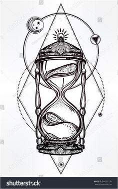 hand drawn romantic beautiful drawing of a hourglass vector illustration isolated tattoo design mystic time symbol for your use - PIPicStats Kunst Tattoos, Body Art Tattoos, Tattoo Drawings, Tatoos, Fake Tattoos, Cross Tattoos, Thigh Tattoos, Tribal Tattoos, Pencil Drawings
