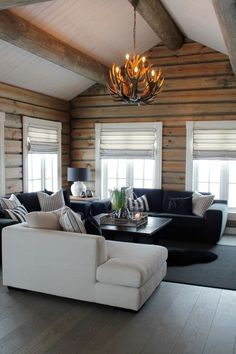 Awesome 47 Inspiring Home Interior Cabin Style Design Ideas Modern Cabin Interior, Cabin Interior Design, Living Room Interior, Living Room Decor, Modern Cabin Decor, Log Home Interiors, Lake Cabin Interiors, Decor Ideas, Decorating Ideas