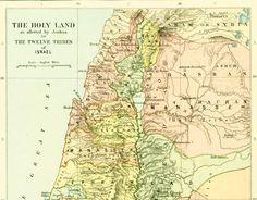 1910 Carte Ancienne des douze tribus d'Israël. Palestine. Carte Ancien Testament . Atlas Bible de la boutique sofrenchvintage sur Etsy