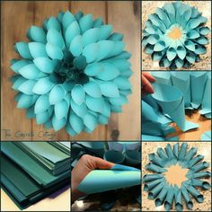 The Concrete Cottage: Paper Dahlia Wreath - reminds me of the punch card wreaths I made this for my classroom door. I get tons of compliments on it! The Concrete Cottage: Paper Dahlia Wreath Paper Dahlia Wreath-Fancy impact but so simple to make. Paper Flowers Diy, Flower Crafts, Diy Paper, Tissue Paper, Diy Cardstock Flowers, Origami Flowers, Diy And Crafts, Crafts For Kids, Arts And Crafts
