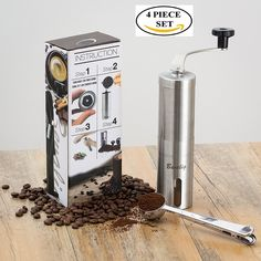 Manual Coffee Grinder with Travel Pouch, Spoon and Cleaning Brush | Ceramic Conical Burr for Precision Brewing | Stainless Steel Hand Crank Mill >>> Wow! I love this. Check it out now! : Coffee Tea Espresso
