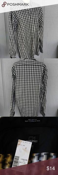 NWT Men's dress shirt PARC 81 XL EXCELLENT condition.  Shades of black and Gray.  Very sharp.  P-7 parc 81 Shirts Dress Shirts