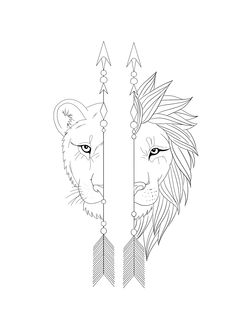 Arrow Tattoo Design, Lion Tattoo Design, Floral Tattoo Design, Tattoo Design Drawings, Tattoo Sketches, Tattoos For Women Half Sleeve, Sleeve Tattoos, Tatuagem Diy, Meaningful Tattoos For Couples