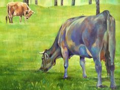 COWS in the meadow Cows, Moose Art, Painting, Animals, Canvas, Animaux, Painting Art, Animal, Paintings