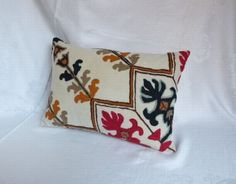 Pillow Cover ~ Decorative ~ Vintage Kashmir Crewel Embroidery ~ Handmade ~ Invisible Zipper~ Red Black Sage and Gold Wool Crewel Embroidery, Embroidery Patterns, Goose Down Pillows, Seed Stitch, Embroidery Techniques, Decorative Pillow Covers, Handmade Pillows, Cotton Linen, My Etsy Shop