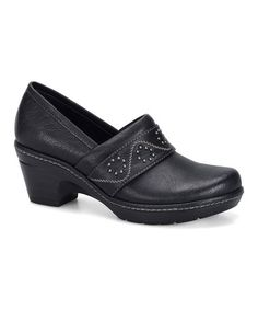 This Black Baelyn Clog by Eürosoft by Söfft is so comfortable.  Elastic goring ensures an easy and flexible slip-on fit, while the latex footbed offers supportive comfort atop a height-boosting heel.   2.5'' heel with 0.75'' platform Man-made upper Memory foam footbed Rubber sole  Vegan cruelty free boots clogs shoes