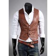 $15.24 New Style Simple Design Single-Breasted Leather Waistcoat For Men