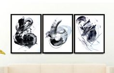 Black and White Prints, Abstract Print Set of 3 Prints, Minimalist Wall Art Set, Modern Home Decor, Scandinavian Poster Set Black And White Prints, Black And White Abstract, White Art, Poster Prints, Art Prints, Poster Wall, Nordic Art, Affordable Wall Art, Minimalist Poster