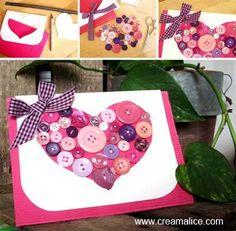 ♥ ✄ DIY Carte Cœur Boutons / DIY Buttons Heart Card ✄ ♥ http://www.creamalice.com/Coin_conseils/1-loisirs_creatifs_2013/5A-Tuto_Carte_Coeur_Boutons/Tuto_DIY_Carte_Coeur_Boutons.htm